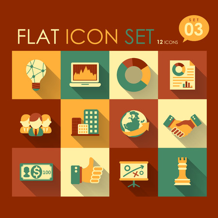 vector business strategy icon set flat design Vector