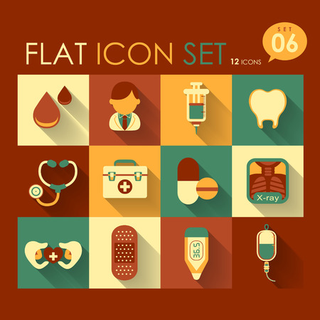 vector medical icon set flat design elements Vector