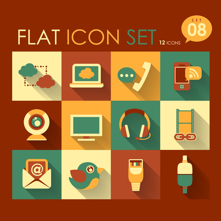 vector communication   internet icon set flat design Vector