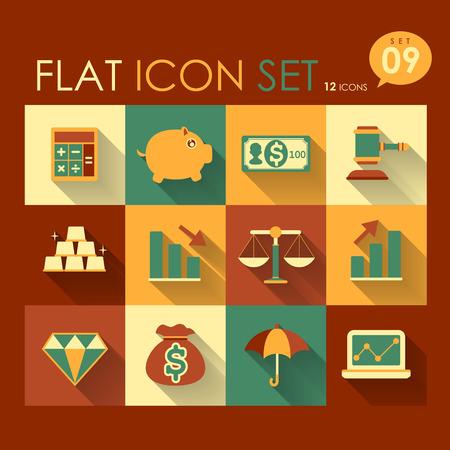 finance icon set vector flat style design Vector