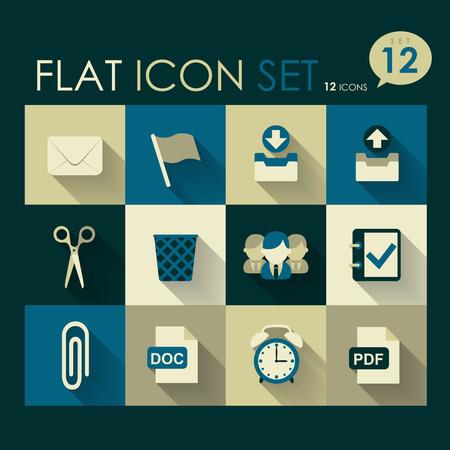 icone office: bureau jeu d'ic�nes vecteur de conception de style plat Illustration