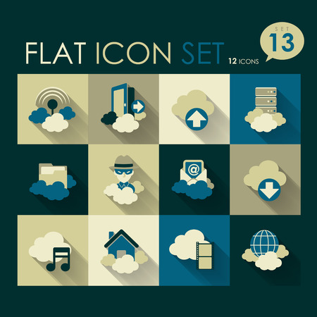 Log Out: cloud network icon set vector flat design