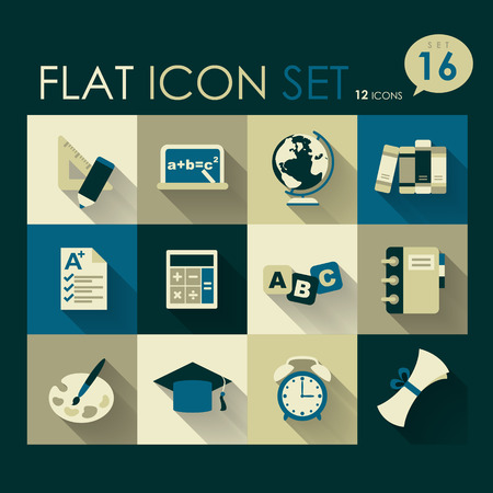 education icon set vector flat style design Vector