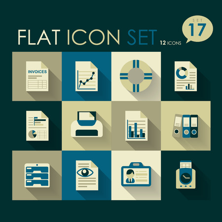 office   business icon set vector flat design