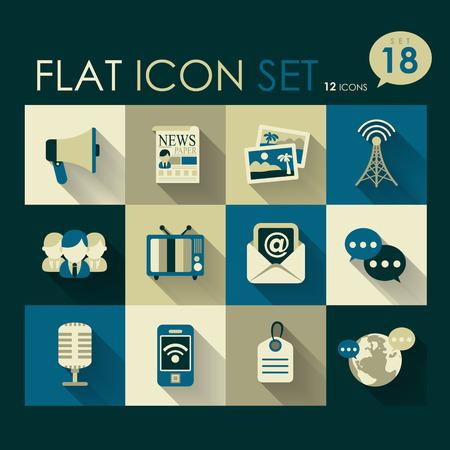 social media icon set vector flat design Vector