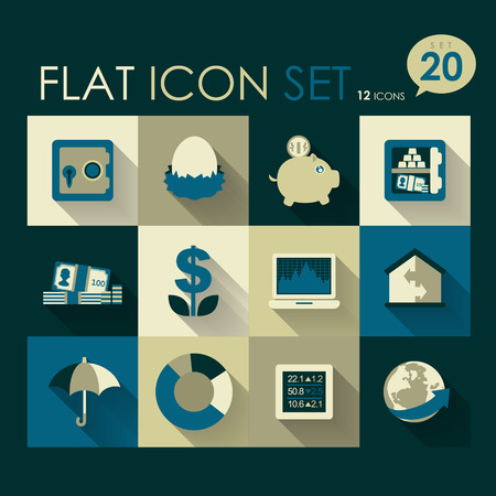 finance   investment icon set vector flat design Vector
