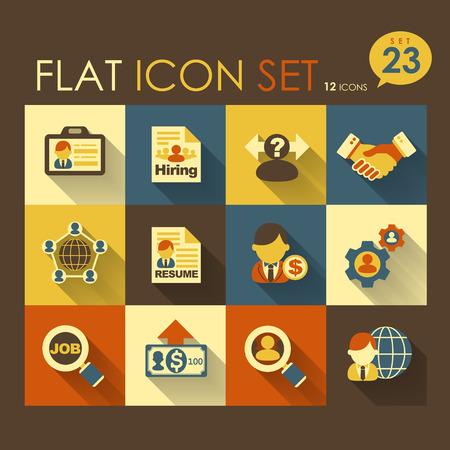 delegar: dise�o plano icono conjunto de trabajos de reclutamiento vector