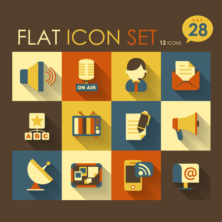communication icon set vector flat style design Vector