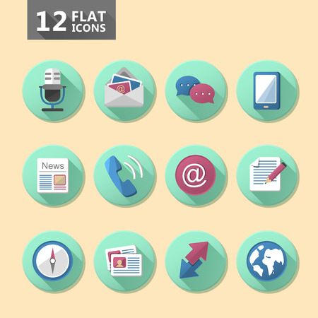 communication icon set flat design elements Vector