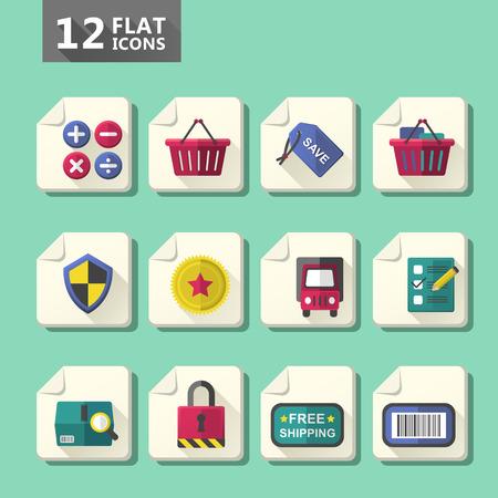 checkout button: vector modern flat design computer icon set
