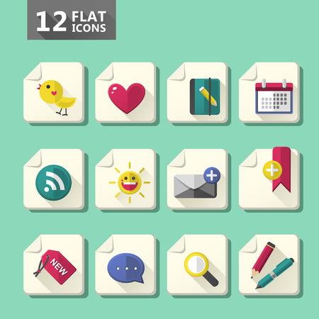 computer icon set: vector modern flat design computer icon set