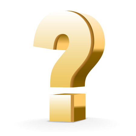 golden question mark isolated white background Иллюстрация