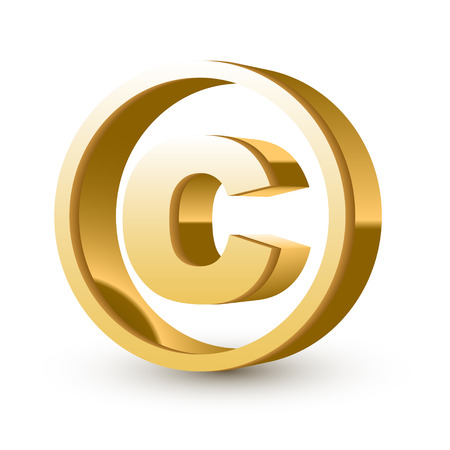 golden glossy copyright symbol isolated white background Stock Vector - 25815079