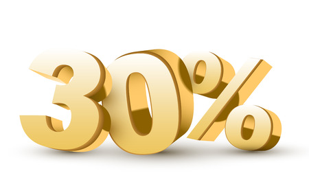 3d glanzende gouden kortingsinzameling - 30 percenten geïsoleerde witte achtergrond Stock Illustratie