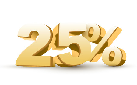 3d shiny golden discount collection - 25 percent isolated white background Vector