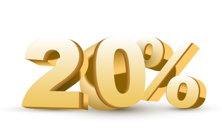 20: 3d shiny golden discount collection - 20 percent isolated white background