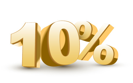 3d shiny golden discount collection - 10 percent isolated white background Vector
