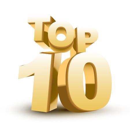 numero diez: Top ten palabra de oro aislado fondo blanco Vectores