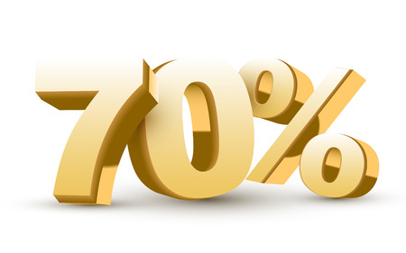 70: 3d shiny golden discount collection - 70 percent isolated white background