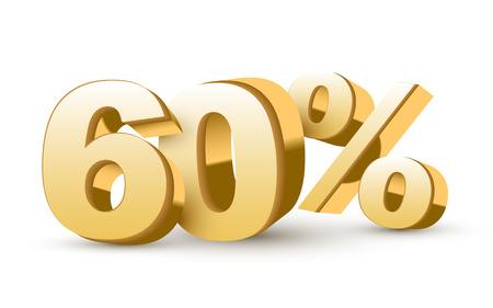 3d shiny golden discount collection - 60 percent isolated white background Vector