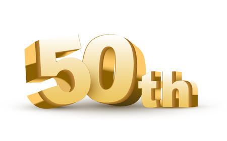 1 year anniversary: 3d anniversary, 50th, isolated on white background Illustration