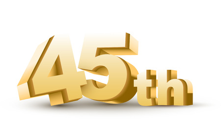 45th: 3d anniversary, 45th, isolated on white background