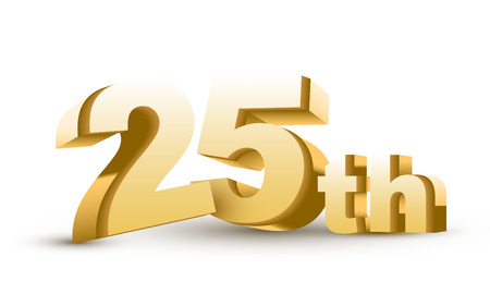 gold age: 3d anniversary, 25th, isolated on white background Illustration