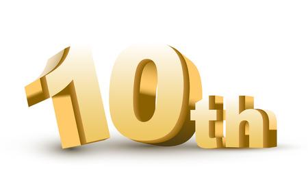 3d anniversaire, 10ème, isolé sur fond blanc Banque d'images - 25815234