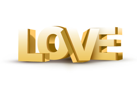 3D LOVE text isolated white background Vector