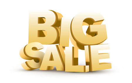 3D big sale  isolated white background Vector