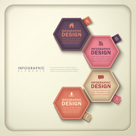 modern vector abstract hexagonal tag infographic elements