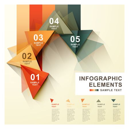 flat style vector abstract triangle label infographic elements