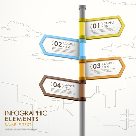 modern 3d vector abstract signpost infographic elements