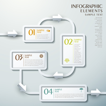 3d vector abstract flow chart infographic elements Ilustração