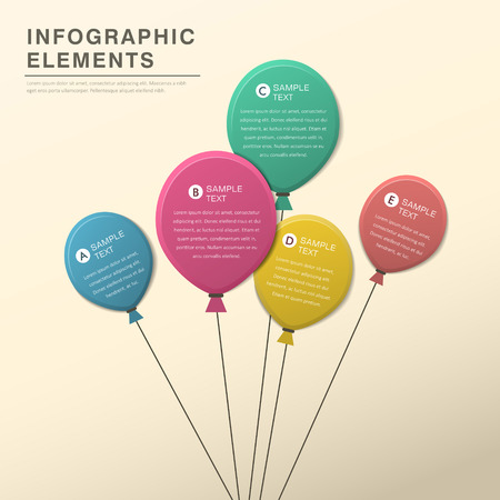paper tag: vector abstract balloon flat design infographic elements