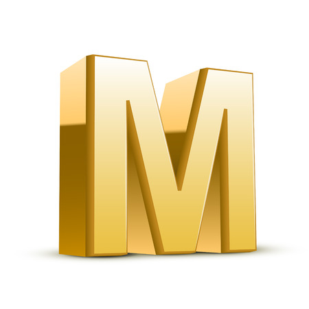 3d golden letter M isolated white background Illustration