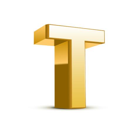 letras de oro: 3d carta de oro T aislado fondo blanco