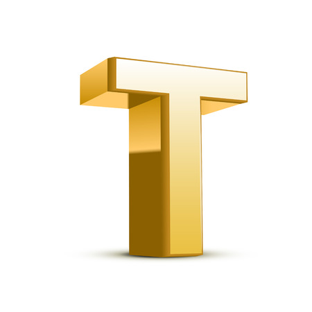 3d golden letter T isolated white background