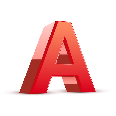 isolated on white background: 3d red letter A isolated white background