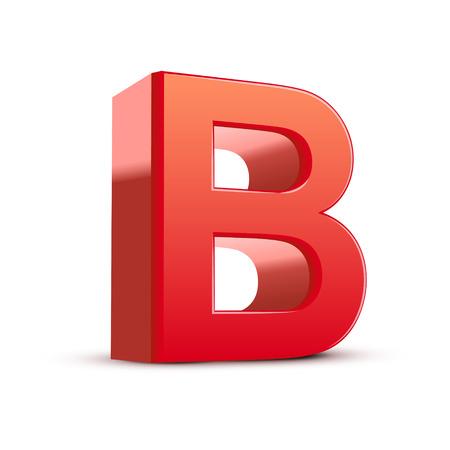 letter b: 3d red letter B isolated white background Illustration