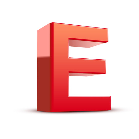 isolated on white background: 3d red letter E isolated white background