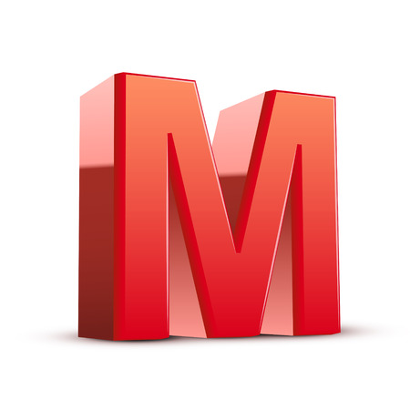 isolated on white background: 3d red letter M isolated white background