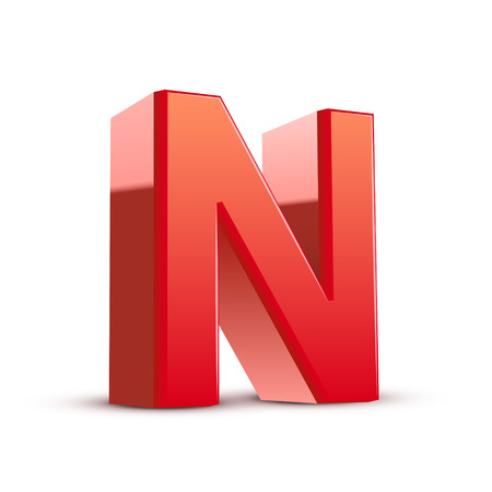 3d red letter N isolated white background Illustration