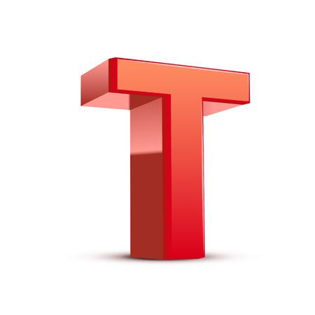 3d lettre T rouge fond blanc isolé Banque d'images - 26026223