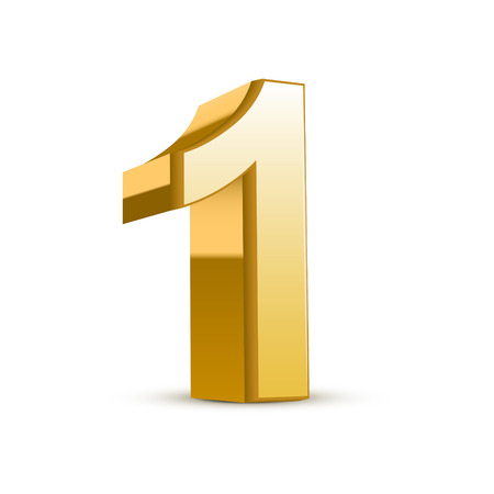 number three: 3d shiny golden number 1 on white background Illustration