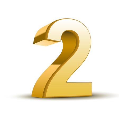 3d glanzende gouden nummer 2 op witte achtergrond