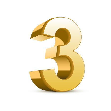 3 d 光沢のある黄金の数 3 白い背景の上