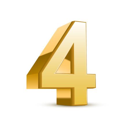 cuatro elementos: 3d brillante oro número 4 en el fondo blanco