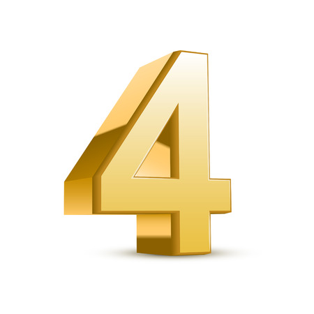 four objects: 3d shiny golden number 4 on white background Illustration