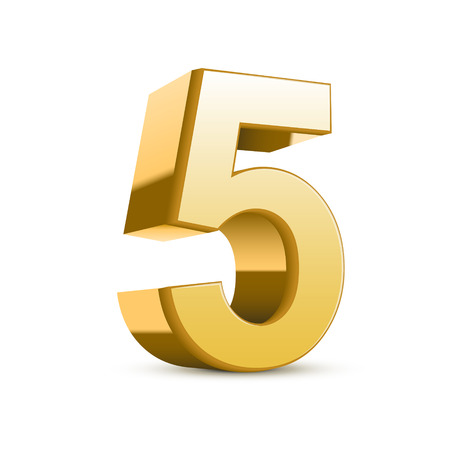 number five: 3d shiny golden number 5 on white background
